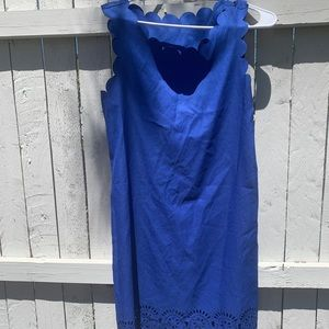 ROYAL BLUE SCALLOP DETAILED DRESS